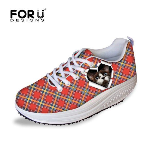 Женщины решетки 2016 летом женщины свободного покроя обувь мода кот женщины печать фитнес клинья качели обувь удобные Zapatos mujer