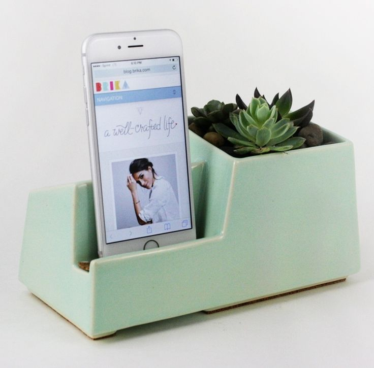 Phone dock and succulent vase