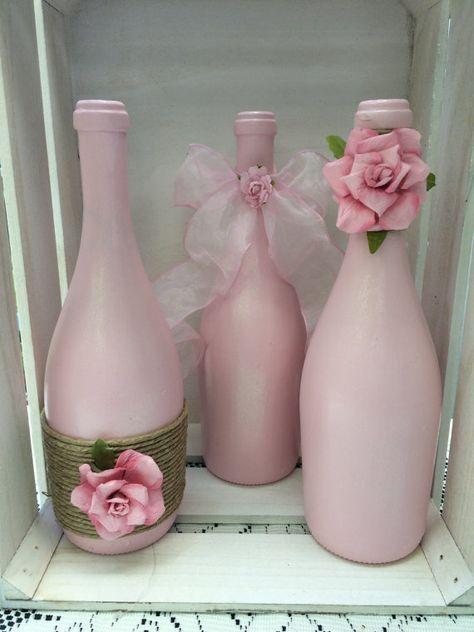 Botellas de vino rosados con guita y ombré Rosa rosas
