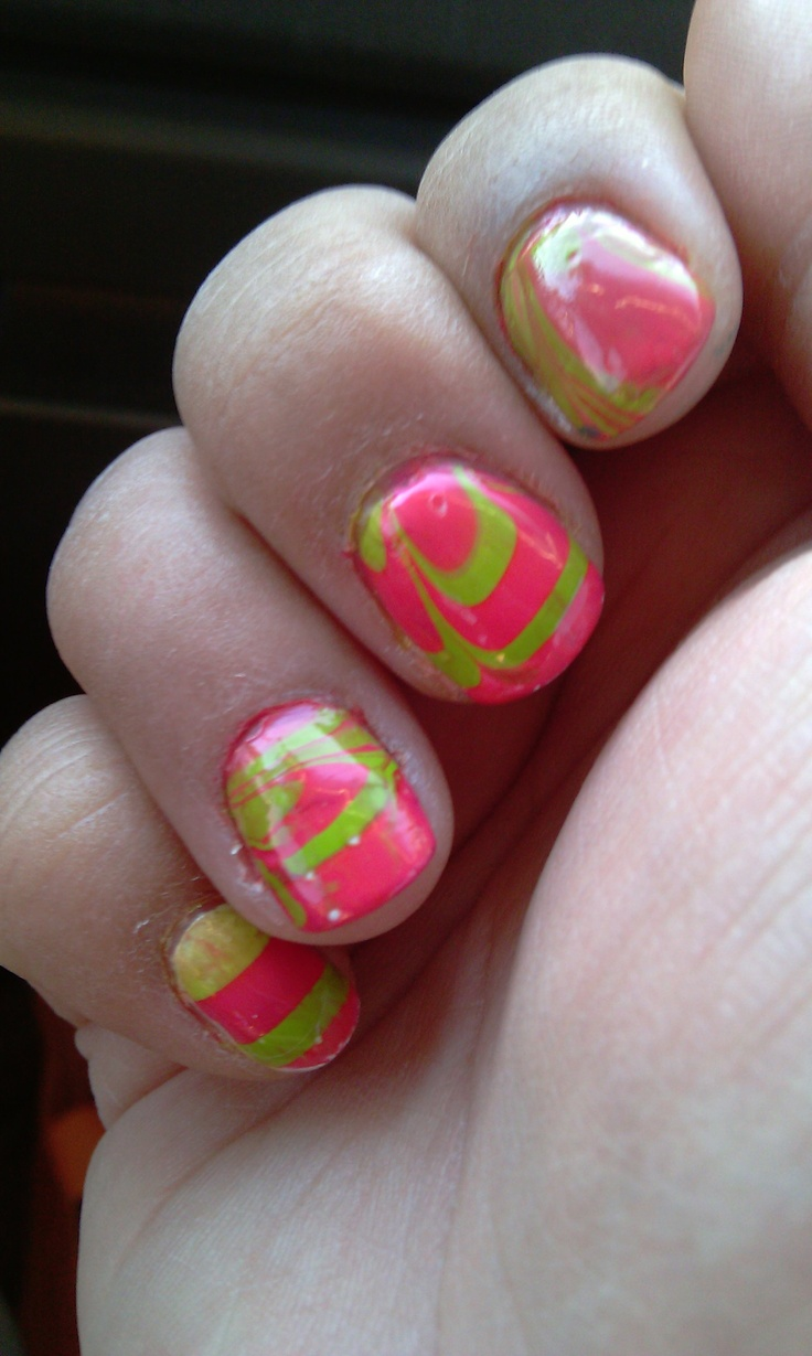 63 best Neon water marble nails images on Pinterest | Water marble ...