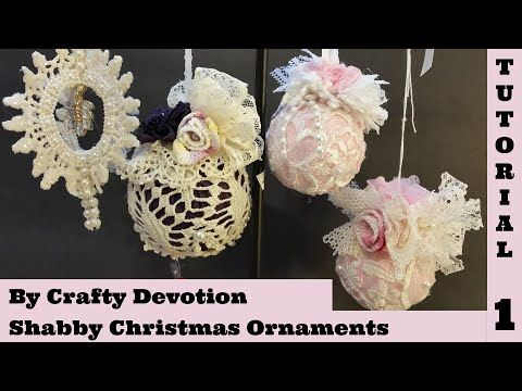 Shabby Ornament 1, Pink Bauble. Christmas Shabby Chic Tutorial, no sew, crafts by Crafty Devotion - YouTube