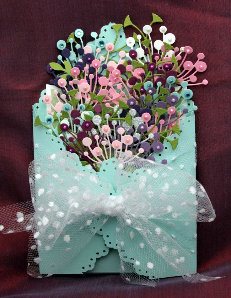 Double Cascade card - wrapped for giving - bouquets made with Memory Box Chloe die
