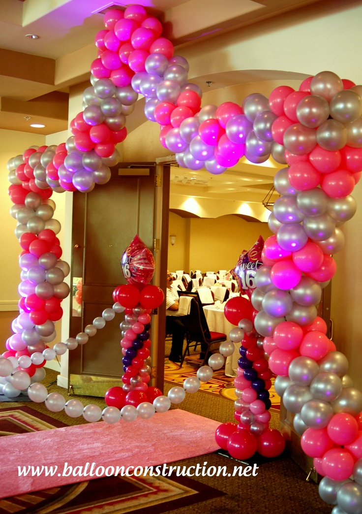 Sweet 16 entrance decor a walk on the pink carpet for Balloon decoration ideas for sweet 16