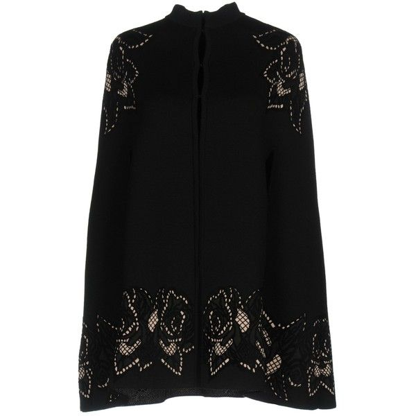 Alexander Mcqueen Capes & Ponchos (5.795 BRL) ❤ liked on Polyvore featuring outerwear, black, style poncho, cape coat, alexander mcqueen cape, poncho cape coat and poncho cape