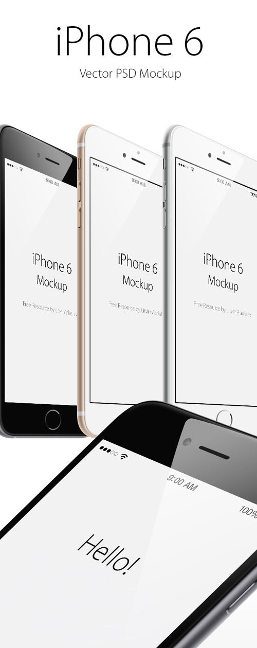 50 Free iPhone 6 and iPhone 6 Plus Mockups (PSD, AI & Sketch) - 20