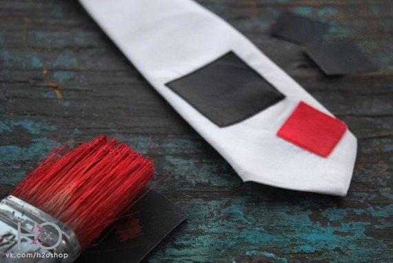 Black and red squares abstract tie. Kazimir Malevich tie. Unusual necktie. Gift tie. White tie. Cotton tie
