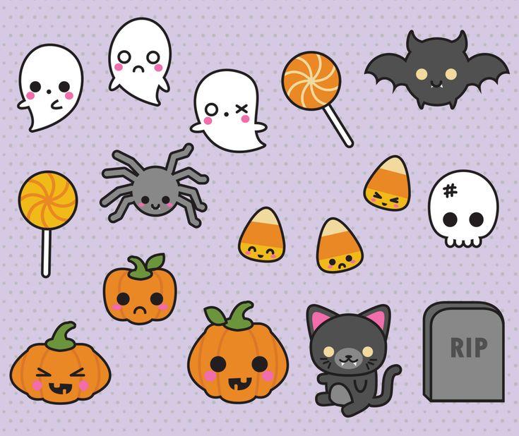 premium vector clipart kawaii halloween by looklookprettypaper - Halloween Pitures