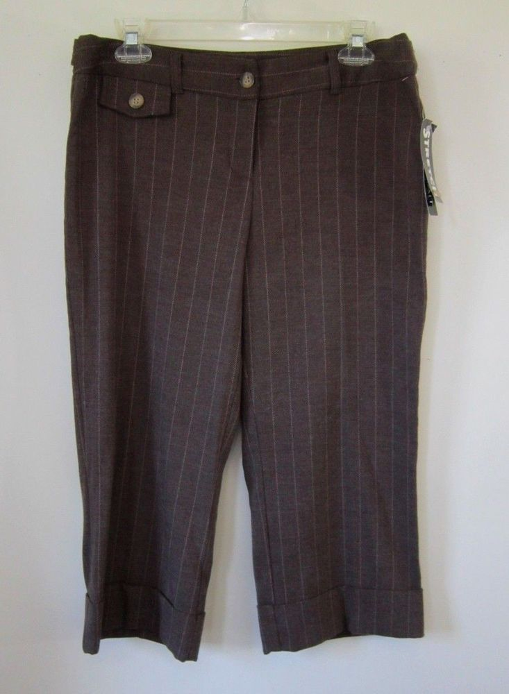 4fae49df286 Womens Jrs Size 11 Capri Pants Dressy Brown Portrait Herringbone Pinstripe  Nwt  Portrait  CaprisCropped  Dressy