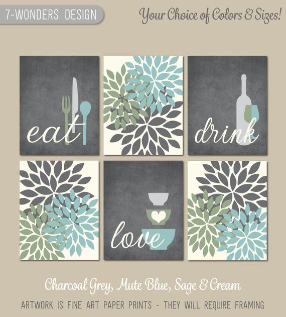 kitchen wall art print set eat drink love flower bursts charcoal grey mute blue sage cream on kitchen decor paintings prints id=32231