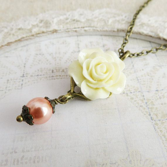 Peach with ivory flower necklace, pendants, ivory rose necklaces, rustic wedding jewelry, gift for her, romantic jewelry