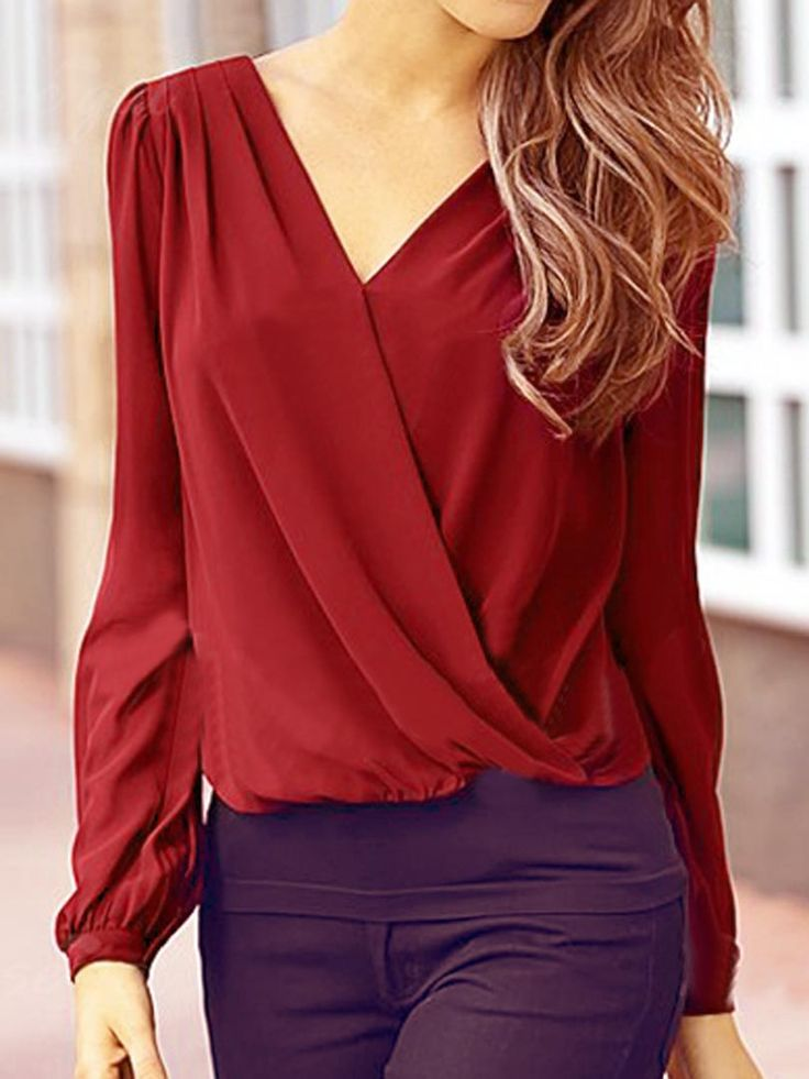 Wine Red V Neck Crochet Lace Back Long Sleeve Chiffon Blouse