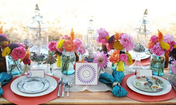 Bright colors wedding pinterest mason jars for How to arrange flowers in mason jar