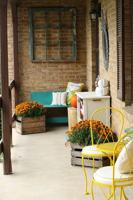 Modern and Fresh Fall Home Tour; fall porch, turquoise, mums in crates old window frame