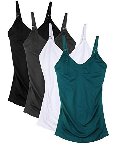 0821b3d9a43 New Daisity Seamless Padded Nursing Tank Tops for Women Breastfeeding  Maternity Camisole Bras Pack of 4 Women s Fashion Clothing online.