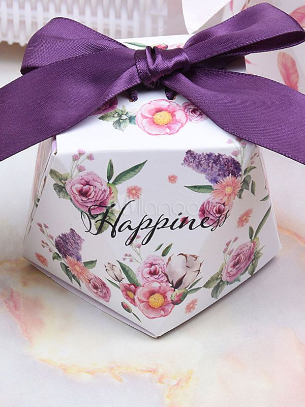 Wedding Favor Boxes 12 Pcs Small Gift Candy Box Floral Print Bows