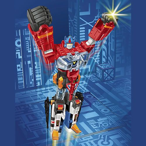 Box art of the American Zenon toy from Superhuman Samurai Syber Squad ((Gridman).  God Zenon appears to be a live-action Optimus Prime clone.