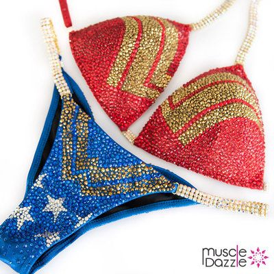Release your inner superhero with this stylish Wonder Woman Competition Bikini Suit design. Affordable and custom made for your next bikini competition.