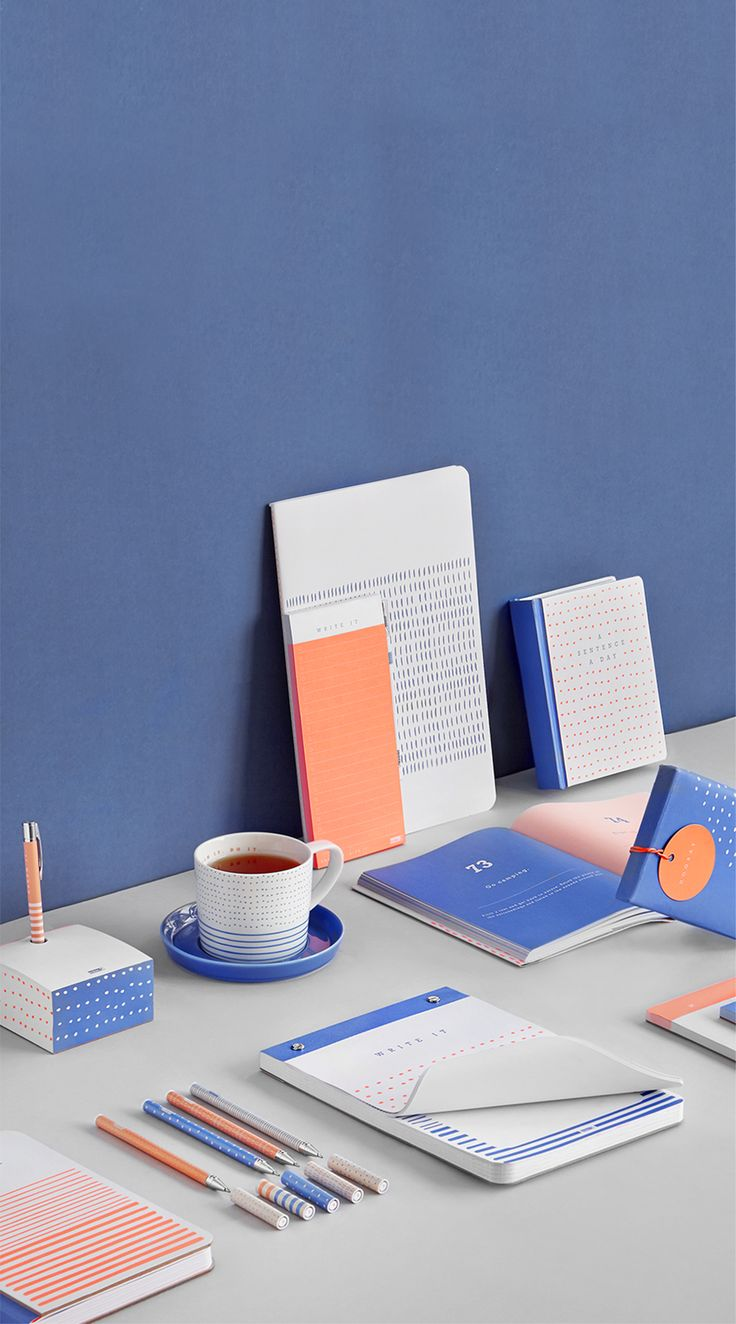 Make Your Mark in peach, blue and white