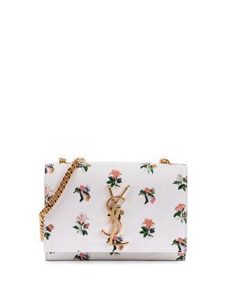 Monogram Prairie Flower Small Crossbody Bag, White Multi by Saint Laurent at Neiman Marcus.