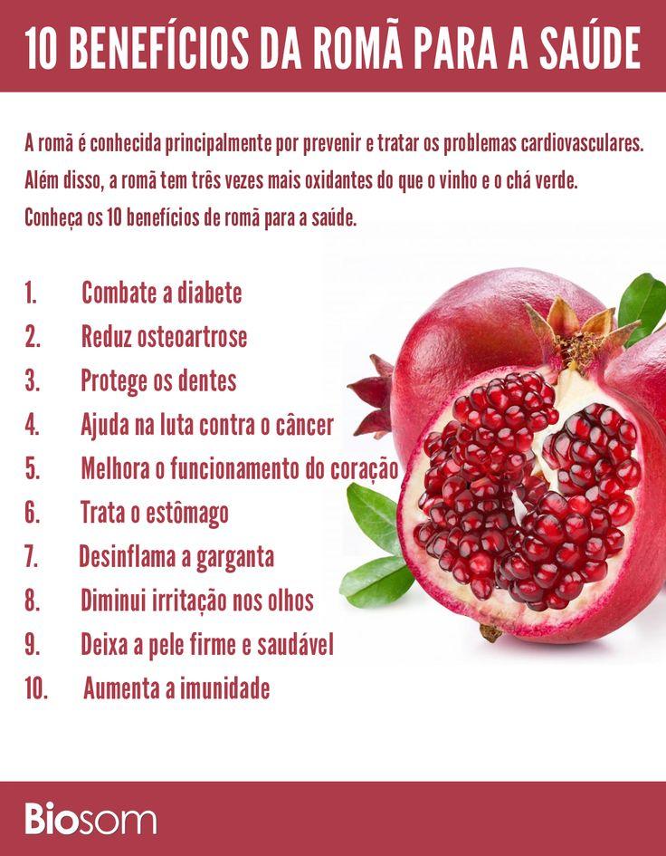 Clique na imagem e veja 10 benefícios da romã para a saúde. #infográfico #romã #saúde #alimento #alimentaçãosaudavel #bemestar