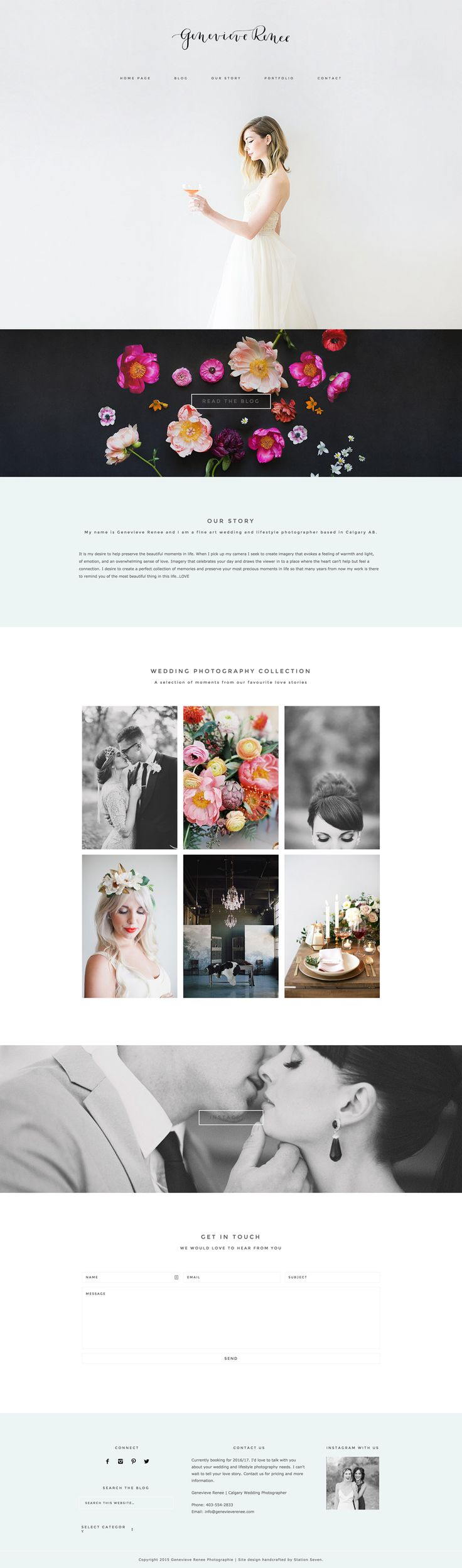 포트폴리오 참고자료 심플한 레이아웃과 이미지가 맘에드ㅁ The new site of talented wedding photographer Genevieve Renee is to die for! Running on Station Seven's Coastal theme :) #wordpress #webdesign