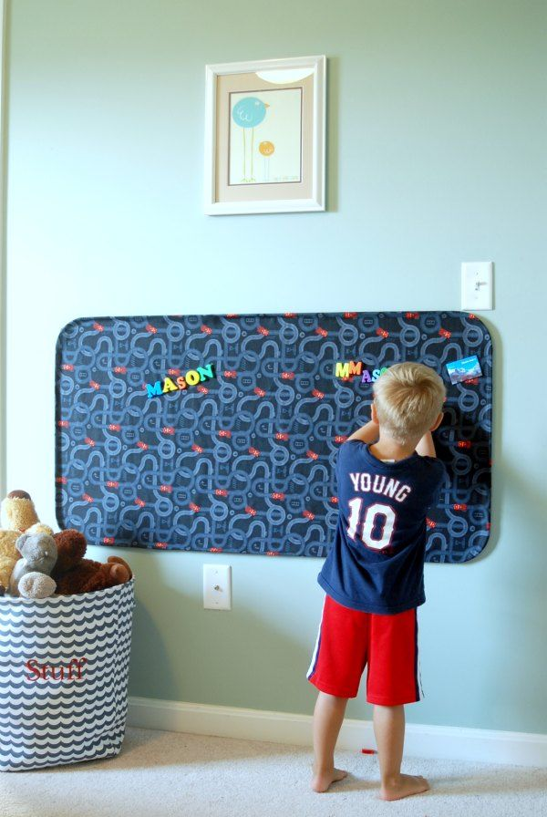 Make a huge fabric-covered magnet board out of an automotive oil drip pan and…