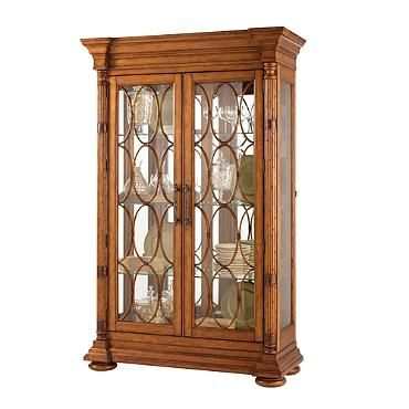 The Marina Display Cabinet features six adjustable glass shelves, a lighted interior and a mirrored back Tommy Bahama Island Estate Collecion