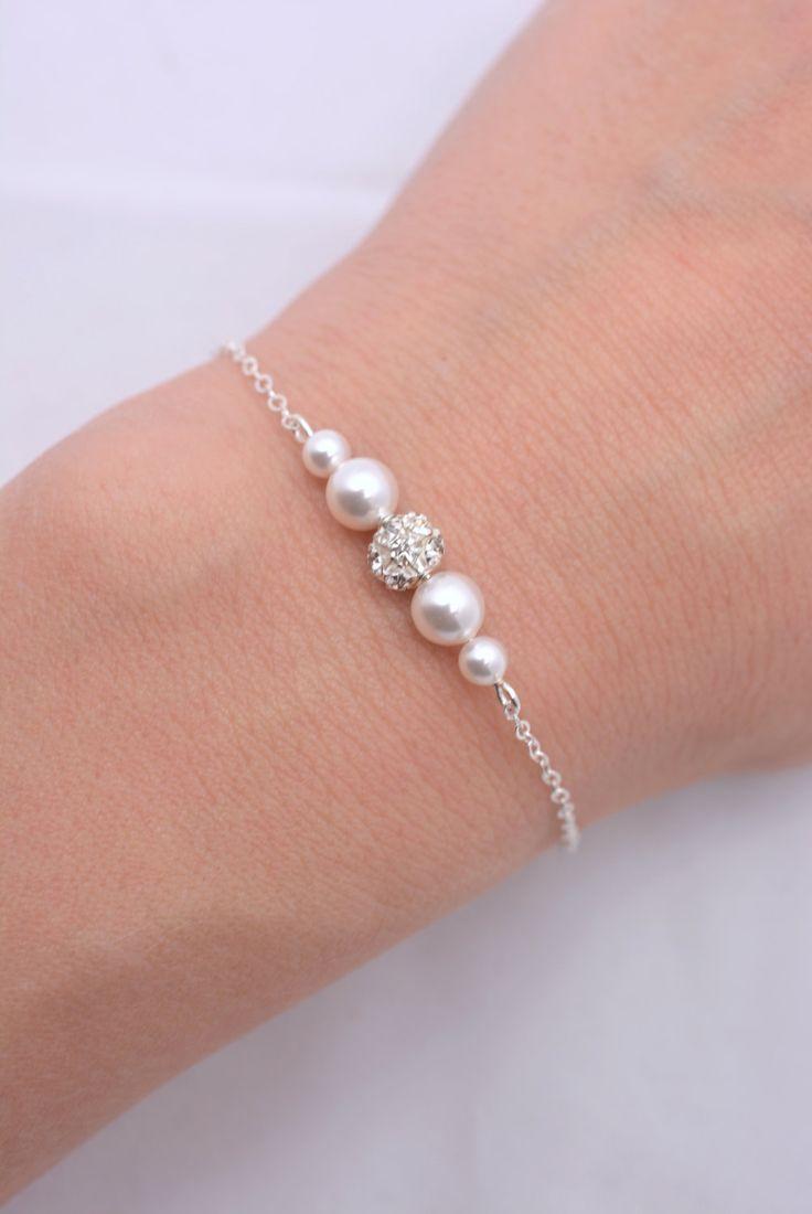 Set of 6 Bridesmaid Pearl and Rhinestone Bracelets, 6 Bridesmaid Sterling Silver Bracelets, Pearl and Crystal Bracelets, Floating Pearl 0224 – Accessórios