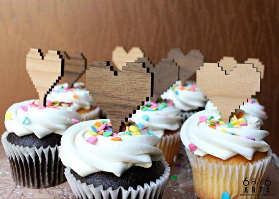 8 Bit Heart Cupcake Reusable Cake Toppers Set Retro Gaming
