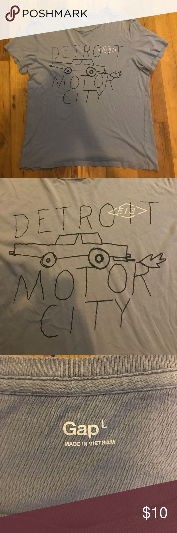 Detroit Motor City Tee Light blue/gray Detroit Motor City T shirt. Super comfy soft material. GAP Shirts Tees - Short Sleeve