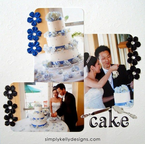 DIY Classic Wedding Scrapbook: Cake by Simply Kelly Designs #wedding #weddingscrapbook #blackandwhite #scrapbooking