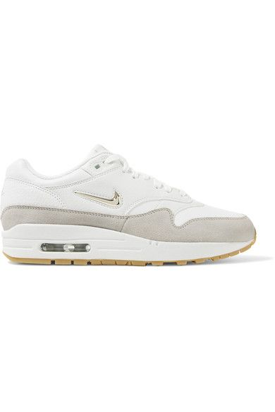 Nike - Air Max 1 Premium Suede-trimmed Leather Sneakers - White
