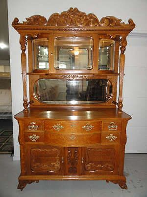 Gorgeous Late Antique Oak Sideboard With Beveled Glass Encased Top In Antiques Furniture Sideboards Buffets