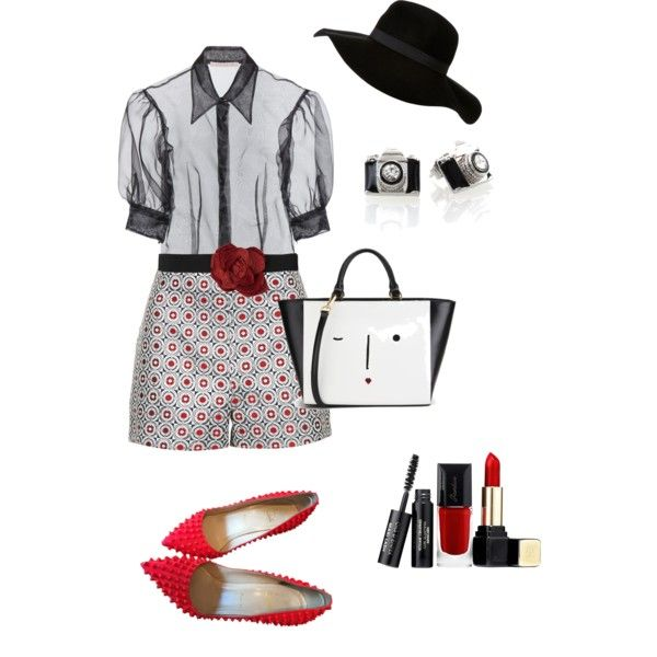 A fashion look from February 2015 featuring Christopher Kane blouses, Topshop shorts and Christian Louboutin pumps. Browse and shop related looks.