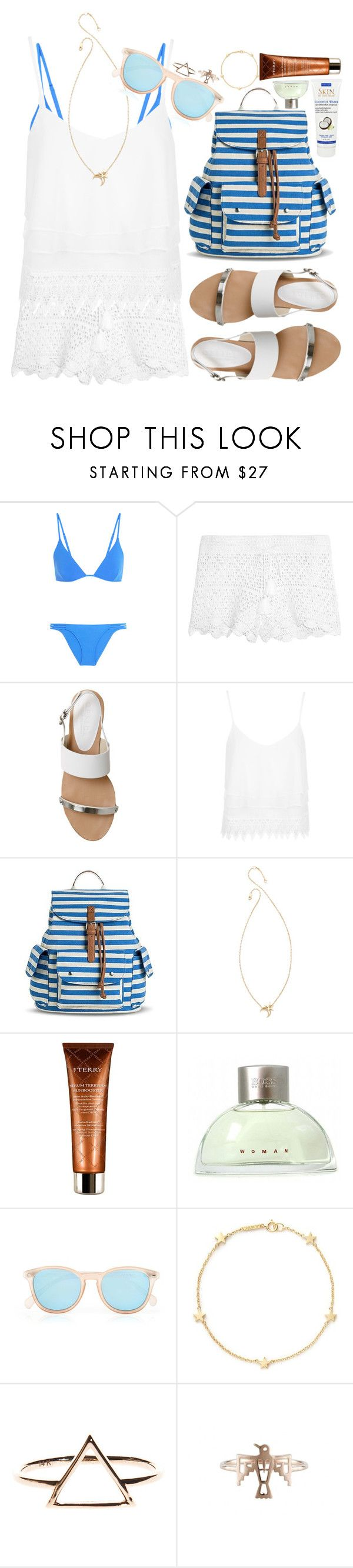 """""""Feel the summer"""" by noa5353 ❤ liked on Polyvore featuring Melissa Odabash, Tory Burch, Office, Topshop, Bueno, Jennifer Zeuner, By Terry, HUGO, Le Specs and Jennifer Meyer Jewelry"""