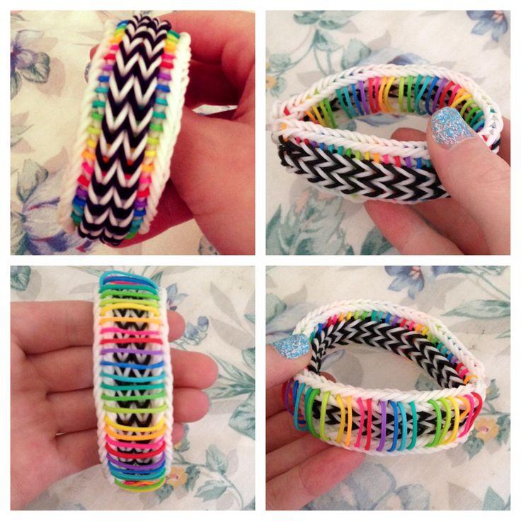 Awesome rainbow pinstripe rainbow loom bracelet!! Irreversible too!!!