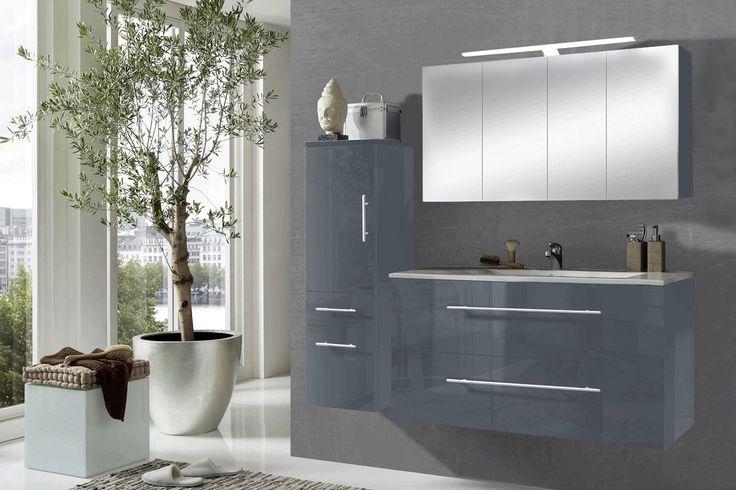 Dekor & Interieur SAM® 3tlg. Badezimmer Set grau 120 cm Rom Spiegelschrank Auf Lager ! - Produktfoto