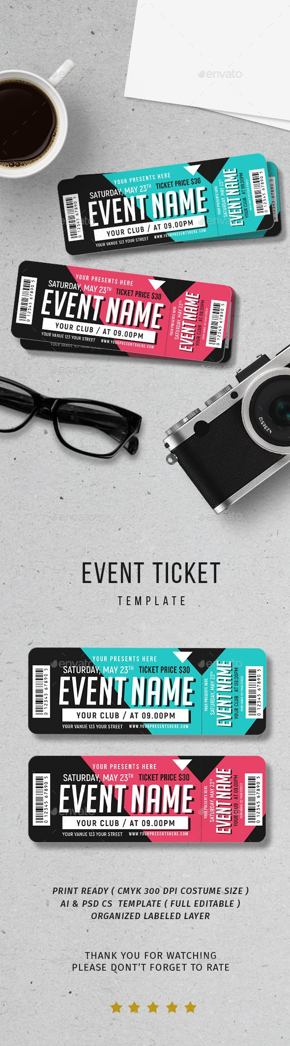 #Event #Ticket - Print Templates Download here: https://graphicriver.net/item/event-ticket/20018305?ref=alena994