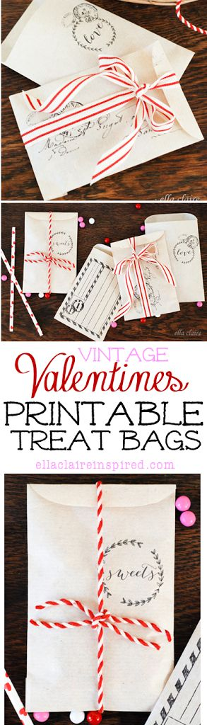 Free Printable Valentines Day Treat Envelopes with a Vintage Feel by Ella Claire