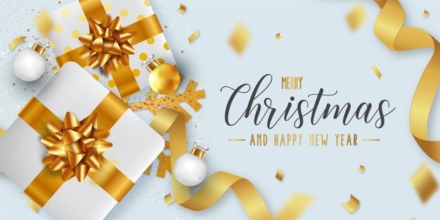 Download Merry Christmas And Happy New Year Background Template With Realistic Christmas Objects For Free Christmas Greeting Card Template Merry Christmas Card Greetings Merry Christmas And Happy New Year