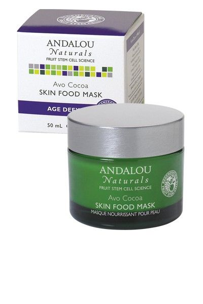 Andalou Avo Cocoa Skin Food Mask, $16. Avocado provides non-clogging lubrication and hydration. Cocoa gives the skin much needed antioxidants. Mmmmm.....smells amazing.
