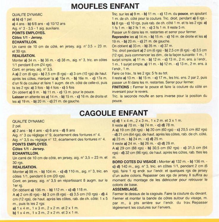 Modèle de cagoule (t : 2 - 4 - 6 - 8 ans) et moufles  (t: 4- 6/8 -10/12 ans) au tricot - VHD Créations - cartes faire-part cadeaux naissance - VHD Créations