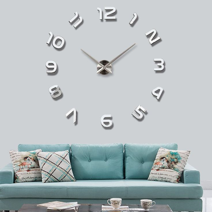 3D Mirror Wall Clock Large Mute Wall Stickers for Living Room