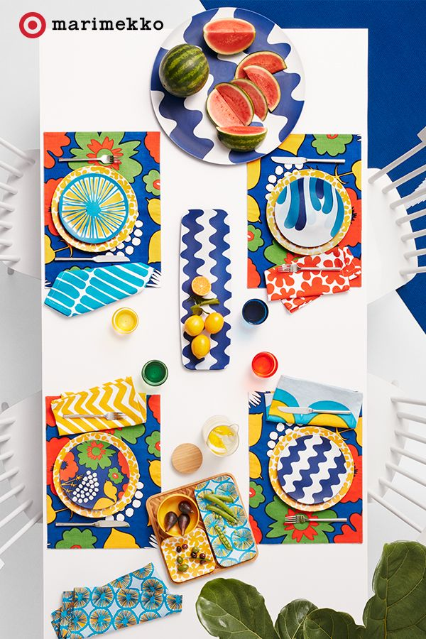 Make a statement even before serving the meal with these ultra modern pieces from the Marimekko for Target collection. This patio tablescape features the Round and Rectangular Serving Trays, Salad Plates, Reversible Placemats and the Bamboo Serving Set. Not only can you mix and match but the placemats are reversible for even more options. Pull together these mouth-watering designs starting April 17th. Click to peruse the entire collection lookbook featuring fashion, home, outdoor and more.