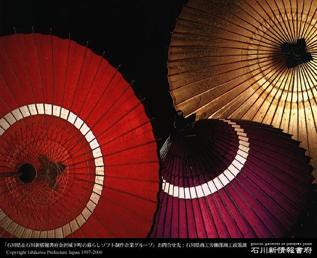 Japanese umbrellas. This is Kanazawa style.(Ishikawa pref)