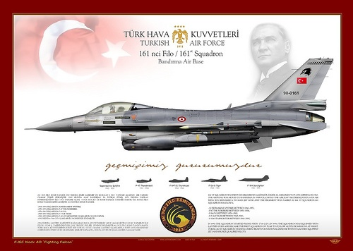 F-16C-TuAF-161    TURKISH AIR FORCE . TÜRK HAVA KUVVETLERI    F-16C Block 40 s/n 90-0161    161 ST SQUADRON WAS FIRST ESTABLISHED IN GAZİEMİR, İZMİR AS A REGIMENT OF 6 TH AIRWING IN 1943. THE AIR WING WAS MOVED TO BANDIRMA IN 1949.FOLLOWING THE AIRCRAFT MODERNIZATION, 6 TH AIR WING WAS RENAMED 6 TH MAIN JET BASE AND THE REGIMENT WAS NAMED AS 161 ST SQUADRON.161 SQUADRON HAS FLOWN,