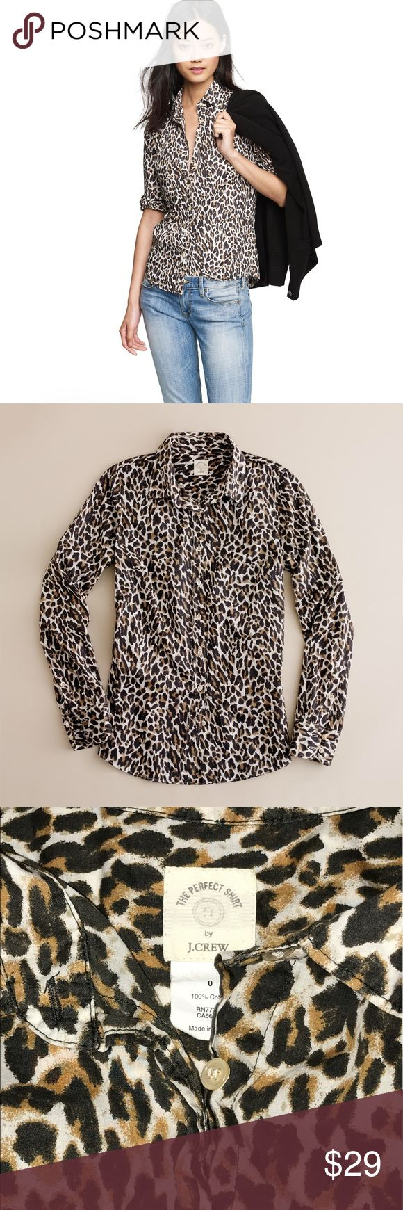 J. Crew The Perfect Shirt cheetah print Sz. 0 EUC J. Crew The Perfect Shirt cheetah print Sz. 0 EUC J. Crew Tops