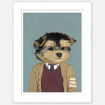 Framed Dog Print Stewart  by Heather Mattoon