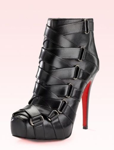 Christian Louboutin black leather ankle boot