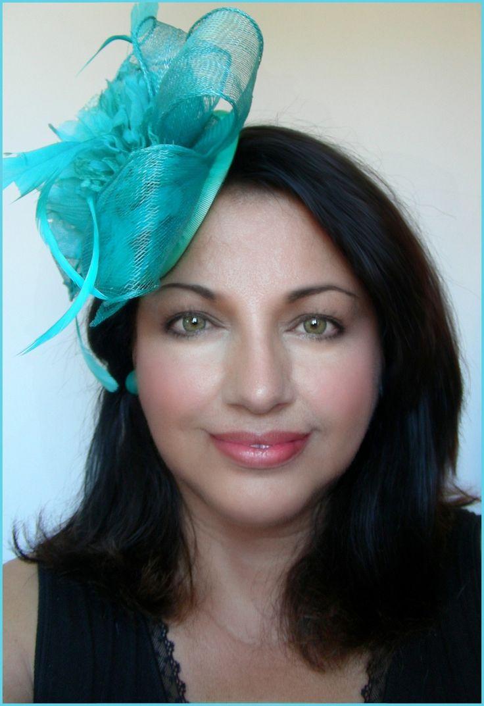 Bibi/Chapeau Bleu/Turquoise - Sisal, Satin, fleur et plumes - Mariage, cocktail, cérémonie.. : Chapeau, bonnet par ladyplazza